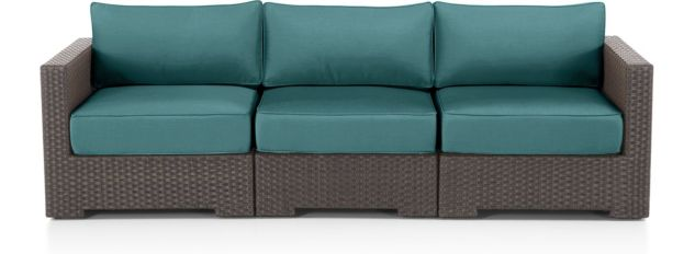 Ventura Umber 3-Piece Sofa Sectional with Cushions(Left Arm Chair, Armless Chair, Right Arm Chair) shown in Sunbrella, Bold Turquoise
