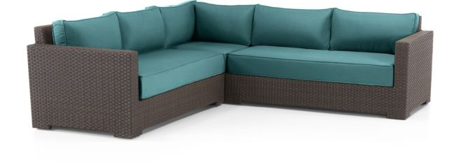 Ventura Umber 3-Piece Loveseat Sectional with Cushions(Left Arm Loveseat, Corner, Right Arm Loveseat) shown in Sunbrella, Bold Turquoise