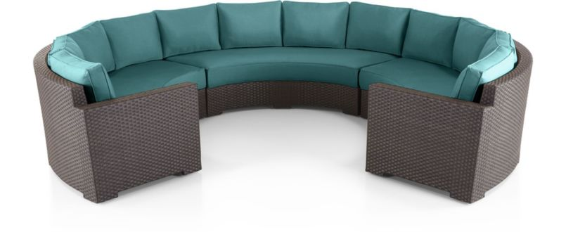 Ventura Round Large 3-Piece Sectional with Cushions(Left Arm Round Sofa, Armless Round Sofa, Right Arm Round Sofa) shown in Sunbrella, Bold Turquoise