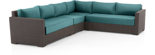 Ventura Umber 4-Piece Loveseat Sectional with Cushions(Left Arm Loveseat, Armless Chair, Corner, Right Arm Loveseat) shown in Sunbrella, Bold Turquoise