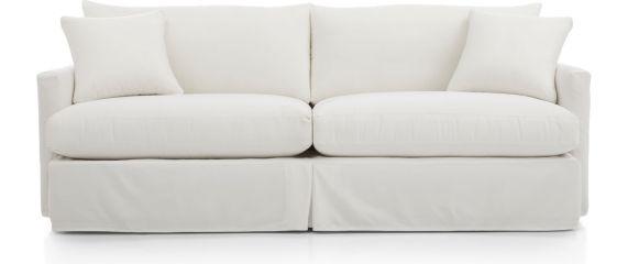 "Lounge II Petite Outdoor Slipcovered 93"" Sofa shown in Sundial, White"