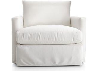 Lounge II Petite Outdoor Slipcovered 360 Swivel Chair shown in Sundial, White