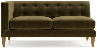 Aidan Velvet Left Arm Tufted Loveseat shown in Como, Olive