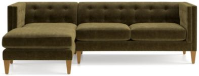 Aidan Velvet 2-Piece Left Arm Chaise Tufted Sectional Sofa(Left Arm Chaise, Right Arm Loveseat) shown in Como, Olive