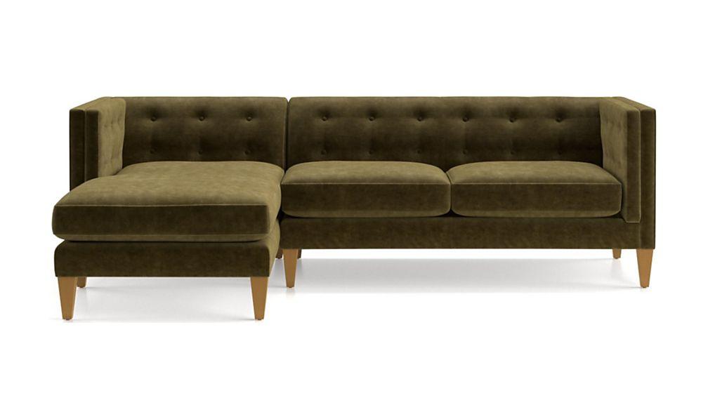 Aidan Velvet 2-Piece Left Arm Chaise Tufted Sectional Sofa - Image 2 of 5