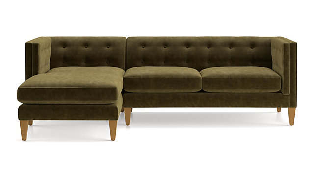 Admirable Aidan Velvet Olive Green Sectional Sofa Crate And Barrel Canada Gmtry Best Dining Table And Chair Ideas Images Gmtryco