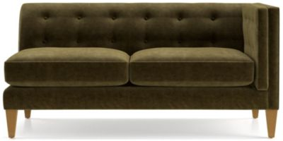 Aidan Velvet Right Arm Tufted Loveseat shown in Como, Olive