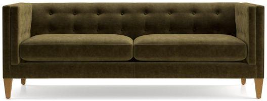 Aidan Velvet Tufted Sofa shown in Como, Olive
