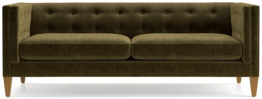 Aidan Velvet Tufted Sofa shown in Como, Olive