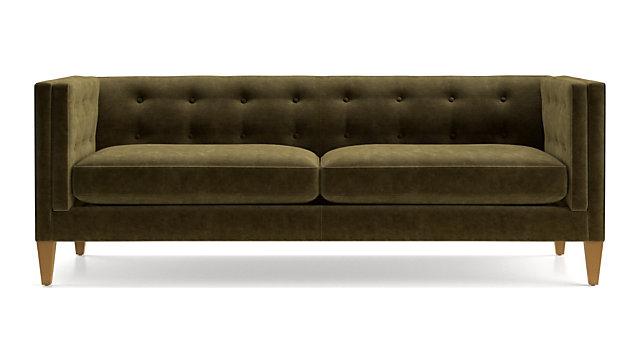 Tap To Zoom Aidan Velvet Tufted Sofa Shown In Como Olive
