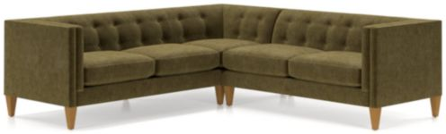 Aidan Velvet 2-Piece Left Arm Corner Tufted Sectional Sofa(Left Arm Corner Sofa, Right Arm Loveseat) shown in Como, Olive