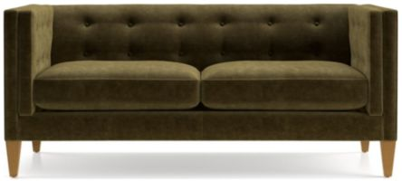 Aidan Velvet Tufted Apartment Sofa shown in Como, Olive