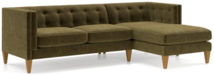 Aidan Velvet 2-Piece Right Arm Chaise Tufted Sectional Sofa(Left Arm Loveseat, Right Arm Chaise) shown in Como, Olive