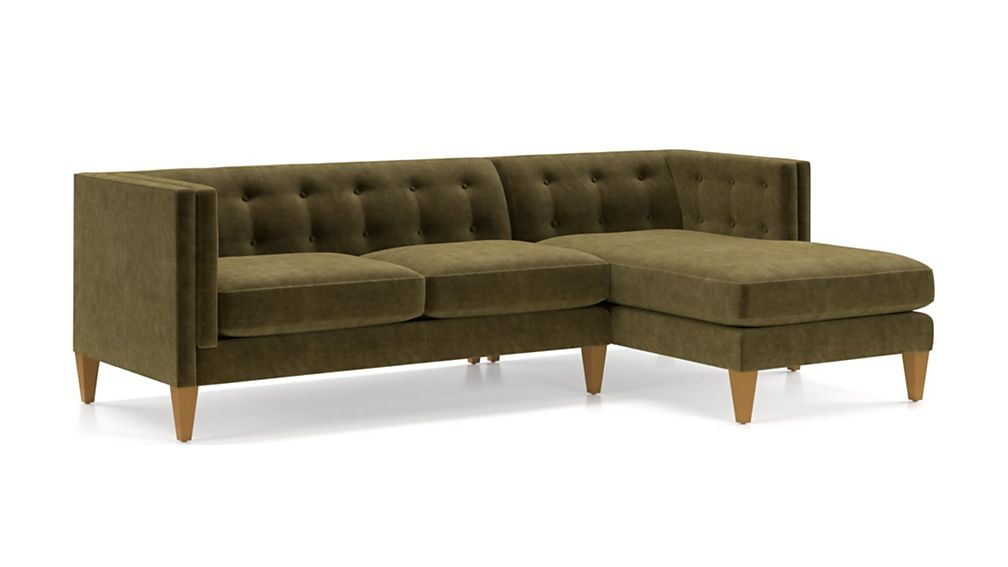 Aidan Velvet 2-Piece Right Arm Chaise Tufted Sectional Sofa - Image 2 of 5