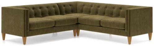 Aidan Velvet 2-Piece Right Arm Corner Tufted Sectional Sofa(Left Arm Loveseat, Right Arm Corner Sofa) shown in Como, Olive