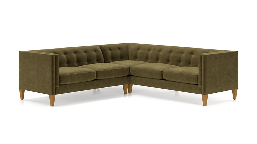 Aidan Velvet 2-Piece Right Arm Corner Tufted Sectional Sofa - Image 2 of 5