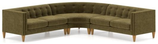 Aidan Velvet 3-Piece Wedge Tufted Sectional Sofa(Left Arm Loveseat, Wedge, Right Arm Loveseat) shown in Como, Olive