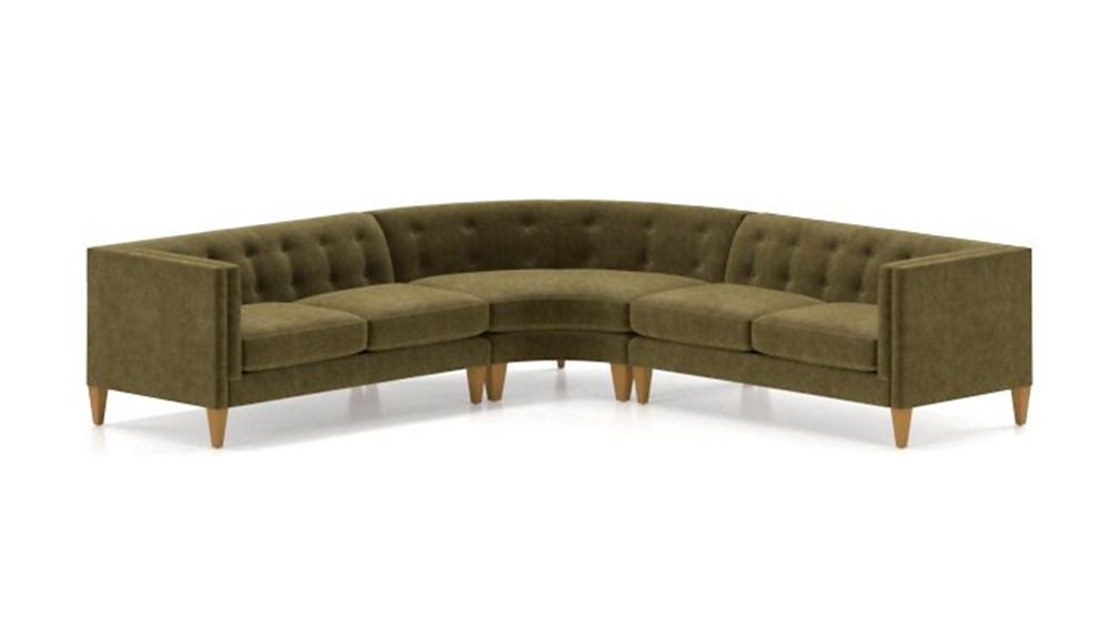 Aidan Velvet 3-Piece Wedge Tufted Sectional Sofa - Image 2 of 5