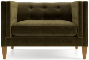 Aidan Velvet Tufted Chair and a Half shown in Como, Olive