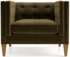 "Aidan Velvet 38"" Tufted Chair shown in Como, Olive"
