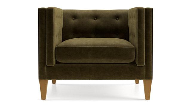 "Aidan Velvet 38"" Tufted Chair shown in Como, Olive"
