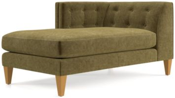Aidan Velvet Left Arm Tufted Chaise shown in Como, Olive