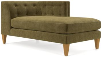 Aidan Velvet Right Arm Tufted Chaise shown in Como, Olive