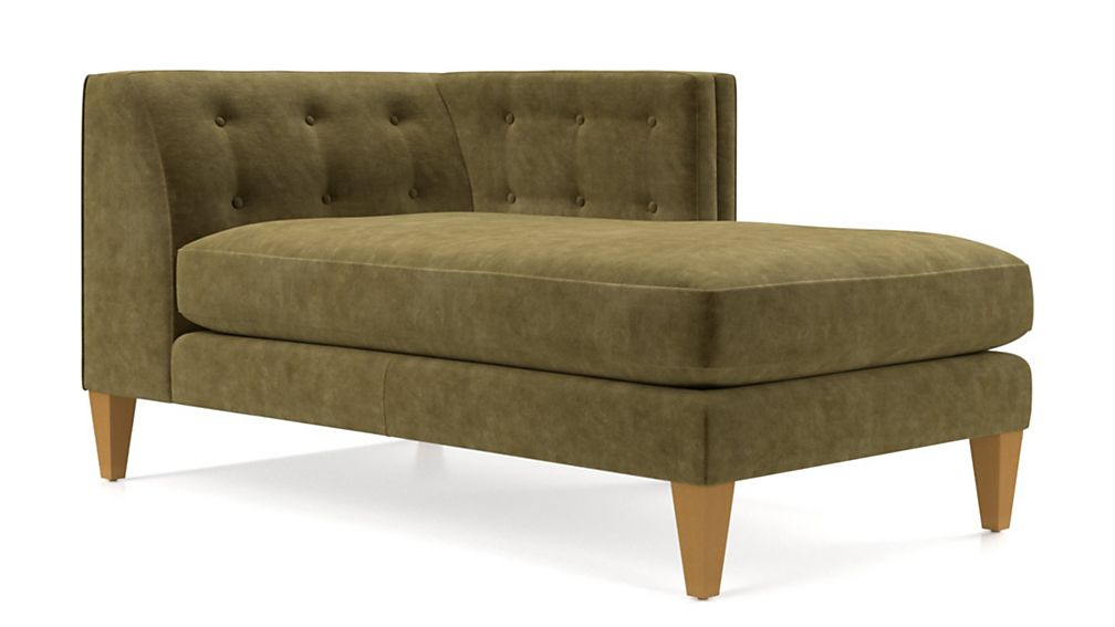 Aidan Velvet Right Arm Tufted Chaise - Image 2 of 5
