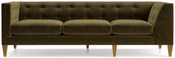 Aidan Velvet Left Arm Tufted Corner Sofa shown in Como, Olive
