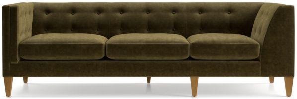 Aidan Velvet Left Arm Tufted Corner Sofa shown in Como, Olive