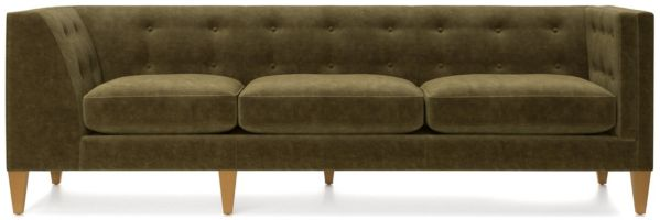 Aidan Velvet Right Arm Tufted Corner Sofa shown in Como, Olive