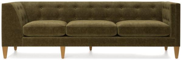 Aidan Velvet Right Arm Tufted Corner Sofa shown in Como, Olive
