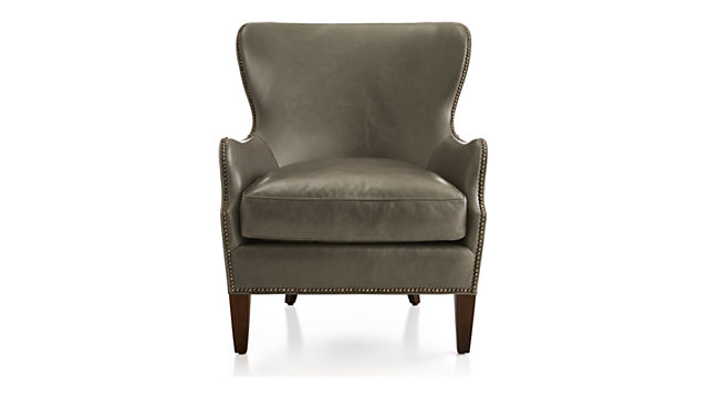 Brielle Nailhead Leather Wingback Chair shown in Mont Blanc, Smoke