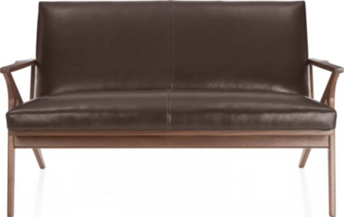 Cavett Leather Wood Frame Loveseat shown in Libby, Sumatra