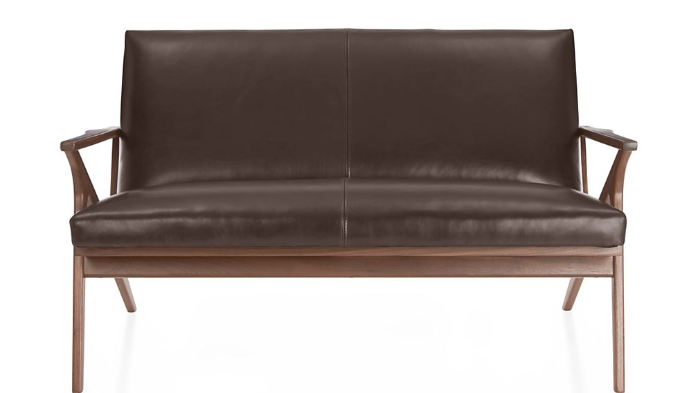 Cavett Leather Wood Frame Loveseat - Image 2 of 8