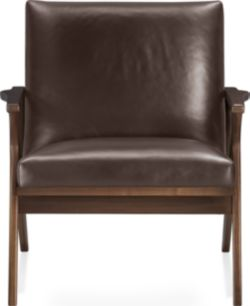 Cavett Leather Wood Frame Chair shown in Libby, Sumatra