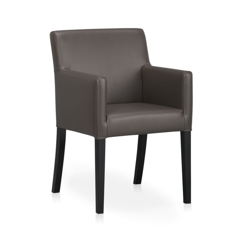 Lowe Smoke Leather Dining Arm Chair In Dining Chairs