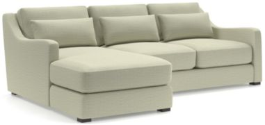 Verano II 2-Piece Left Arm Chaise Slope Arm Sectional Sofa(Left Arm Chaise, Right Arm Loveseat) shown in Traxx, Cloud