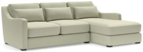 Verano II 2-Piece Right Arm Chaise Slope Arm Sectional Sofa(Left Arm Loveseat, Right Arm Chaise) shown in Traxx, Cloud