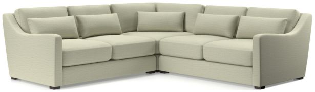 Verano II 3-Piece Slope Arm Sectional Sofa(Left Arm Loveseat, Corner, Right Arm Loveseat) shown in Traxx, Cloud