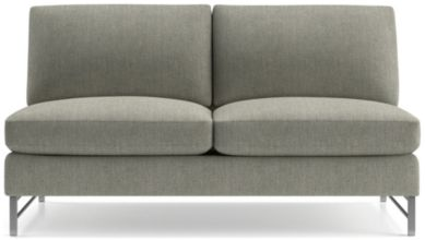 Tyson Armless Loveseat with Stainless Steel Base shown in Vail, Storm