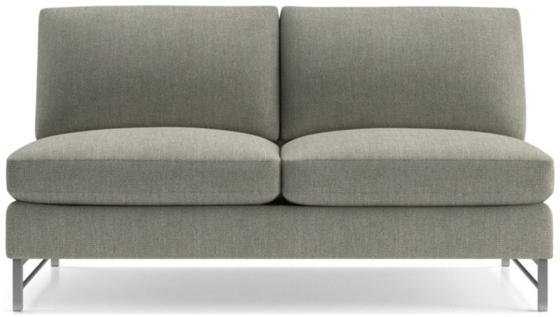 TAP TO ZOOM Tyson Armless Loveseat With Stainless Steel Base Shown In Vail,  Storm