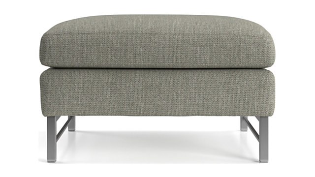 Tyson Ottoman with Stainless Steel Base shown in Vail, Storm