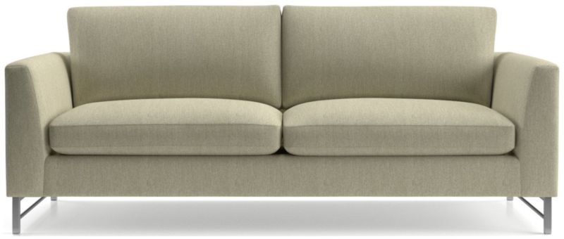 TAP TO ZOOM Tyson Sofa With Stainless Steel Base Shown In Vail, Linen