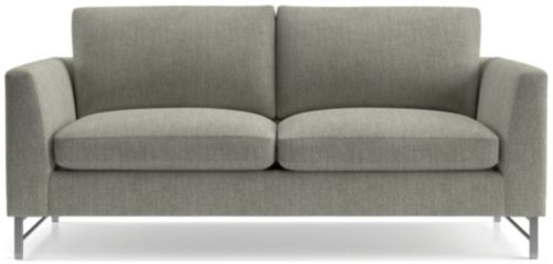 Tyson Apartment Sofa with Stainless Steel Base shown in Vail, Storm