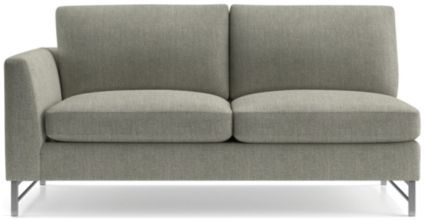 Tyson Left Arm Sofa with Stainless Steel Base shown in Vail, Storm