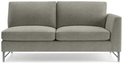 Tyson Right Arm Sofa with Stainless Steel Base shown in Vail, Storm