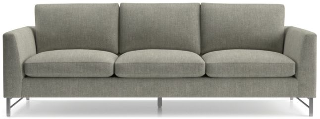 "Tyson 102"" Grande Sofa with Stainless Steel Base shown in Vail, Storm"