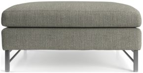Tyson Square Cocktail Ottoman with Stainless Steel Base shown in Vail, Storm