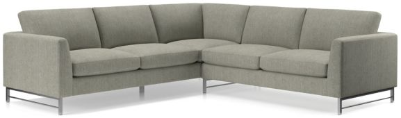 Tyson 2-Piece Right Arm Corner Sofa Sectional with Stainless Steel Base (Right Arm Corner Sofa, Left Arm Sofa) shown in Vail, Storm